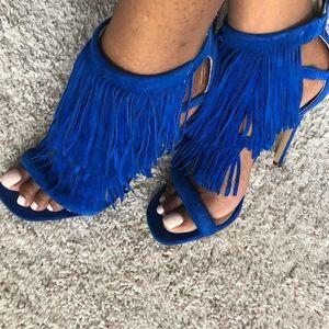 Steve Madden Fringly Cobalt Blue Heels